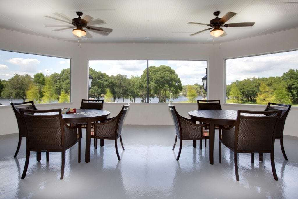 The Crossings at Riverview covered patio overlooking river