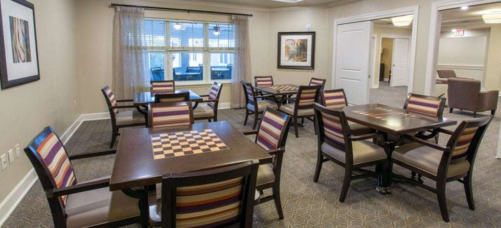 game room at the crossings at riverview