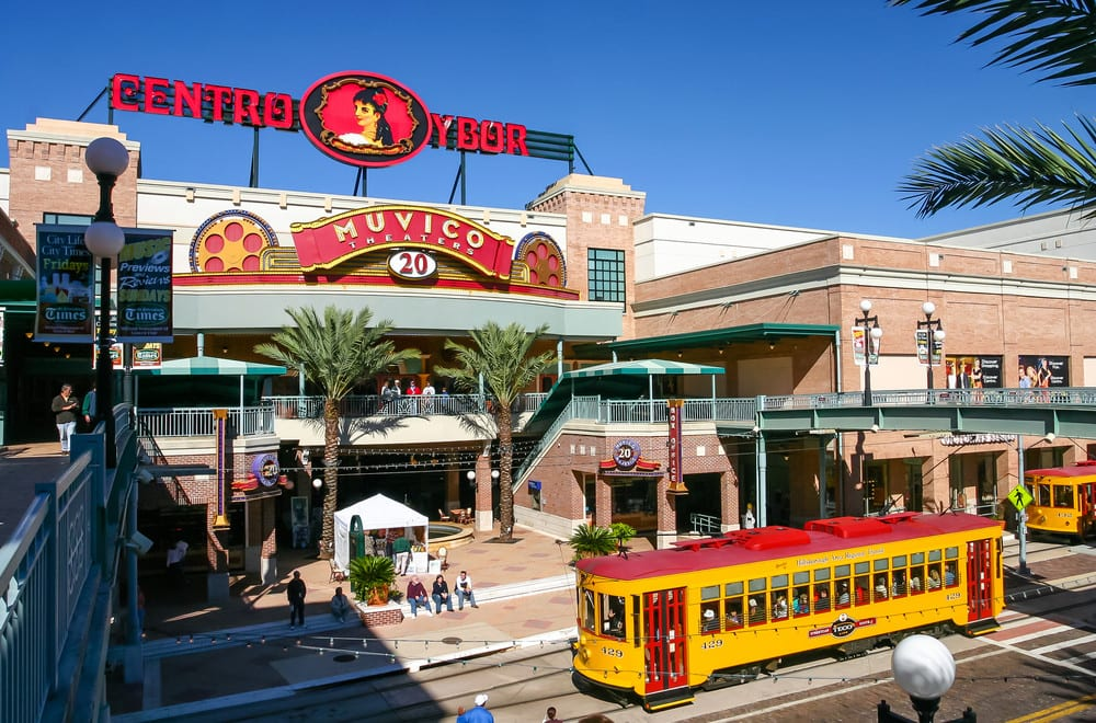 Centro Ybor entrance in Tampa, Florida, with yellow tram
